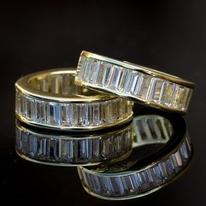 Mens Women's Baguette 14K Gold Plated Huggie Hoop